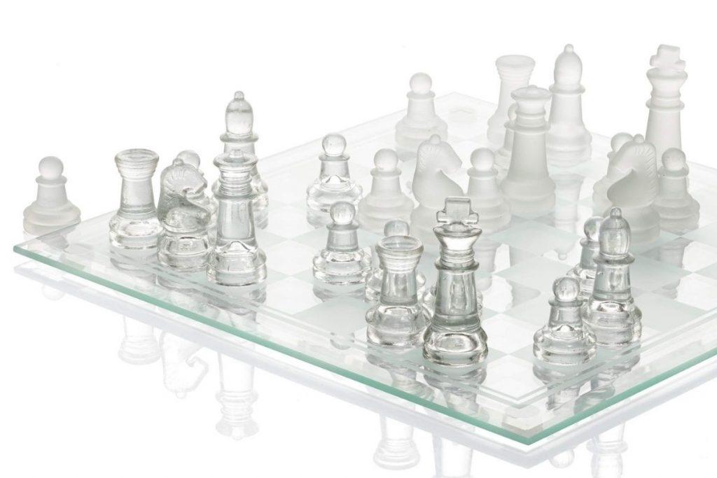Modern glass Chess set